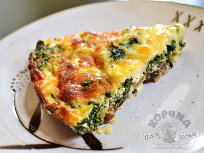 Запеканка с сыром, грибами и шпинатом