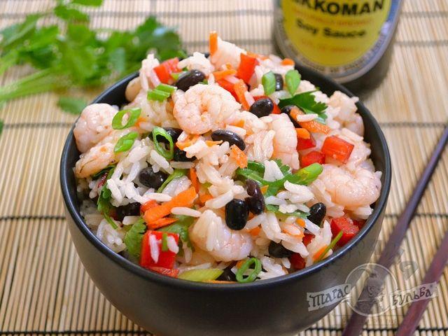 Салат с креветками с рисом рецепт